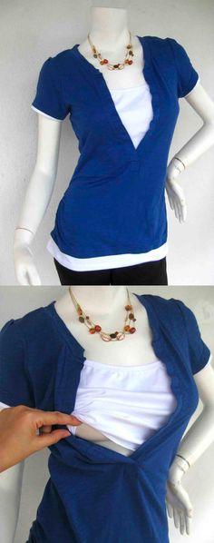 JESSI Nursing Top / Breastfeeding Top NEW / Nursing Tshirt Tee / BLUE Nursing Tops/ Maternity Clothes/ Maternity Clothing