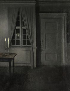 Vilhelm Hammershøi (1864-1916 Danish) • Interior with Two Candles, 1904