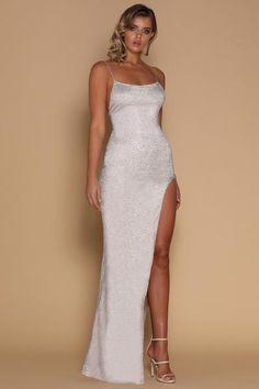 a94375304c335 Stella Jewelled Maxi Dress - Silver Formal Prom