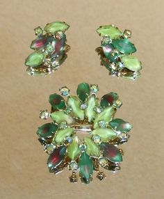 1308~Vtg Sgnd Coro Goldtone AB Rhinestone Watermelon Givre Glass Brooch Earrings #Coro