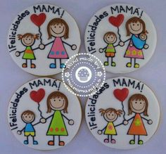 Mamá Mother's Day Cookies, Fancy Cookies, Cute Cookies, Royal Icing Cookies, Cupcake Cookies, Sugar Cookies, Mothers Cookies, Mothers Day Cake, Valentine Day Cupcakes