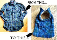 reciclar una camisa en un traje para tu mascota