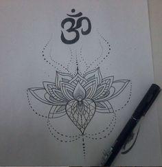 """Lotus"" Nanquim sobre papel  Ornamental"