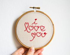 Cross stitch in wooden hoop I love you in red color by skrynka, $35.00
