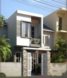 Flat House Design, Narrow House Designs, Modern Small House Design, Minimalist House Design, House Front Design, Cool House Designs, Minimalist Home, Building Design, Building A House