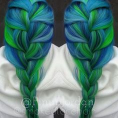 Colorists Jordan Glindmyer and Ali Boone recently created this gorgeous blue-green hair color for their client. A rainbow of turquoise, teal and lime green, the end result is stunning, multidimensional color. Now, in honor of Saint Patrick's Day, Glindmyer shares the steps she took to create this fun, colorful look.