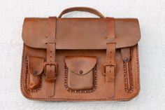 Large Handmade Brown Leather Satchel Bag by ShopKimmayAnn on Etsy, $269.99