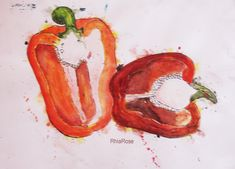 My favourite watercolour I have done - unfortunately doesn't look so great now :/ Style of; Emma Dibben (AMAZING) Using; Watercolour & Ink Pepper: Ink and Watercolours Fruit And Veg, Fruits And Veggies, Food Project, Observational Drawing, Food Artists, Year 9, Art Courses, Beautiful Textures, Natural Forms