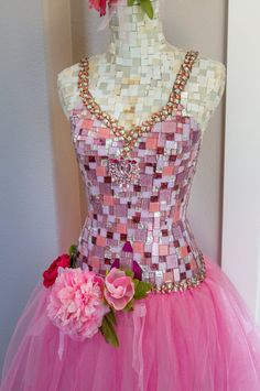 Pink Flower Mosaic Mannequin Woman's dress form by Mosaicsbycarrie