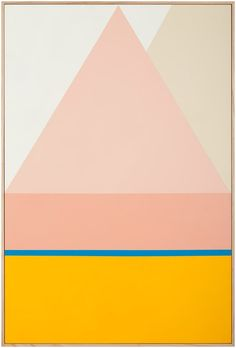 Geometric abstraction, dusty rose, ochre, blue
