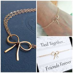 friendship bracelet, Gold bow bracelet, best friend gifts, bow charm bracelet, sister bracelet, bridesmaid gifts, bridal jewelry.... LOVE for bridesmaid gift!