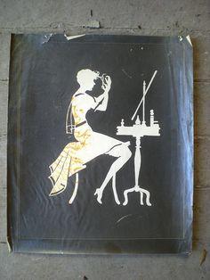 Vintage vanity silhoutte art