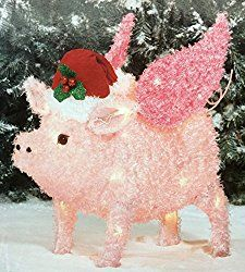 Flying Pig Yard Décor Light Up Pig Christmas Decoration by Holiday Time This Little Piggy, Little Pigs, Pink Christmas, Christmas Time, Christmas Stuff, Light Up Christmas Decorations, Happy Pig, Mini Pigs, Flying Pig
