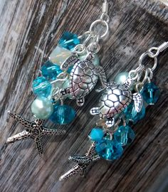 Sea Turtle and Starfish earrings by TiffanyLynnsCloset on Etsy, $22.50