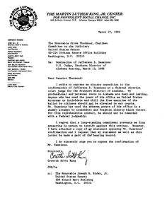 During the Senate confirmation hearing Tuesday for Sen. Jeff Sessions to become attorney general, Sen. Elizabeth Warren was stopped from reading a 1986 letter opposing Sessions' appointment as a federal judge from Coretta Scott King, Martin Luther King's widow.