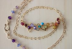 Custom Listing for Melanie - Rainbow Gemstone Necklace, Rainbow Necklace, Rainbow Bar Necklace, Gold Filled Gemstone Bar Necklace #StudioVK #Etsy