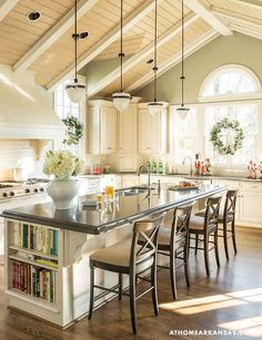 10 Fabulous kitchen design tips for 2015. I especially like the book shelf on the island.: