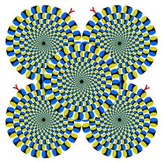Are these snakes rotating? No, they seem to move becuase of the peripheral drift illusion, which uses a specific pattern of colors and smooth profiles to give the illusion of rotational motion.