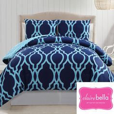The Clairebella reversible comforter set offers a contemporary look to any bedroom. Constructed of cotton, the comforter features a geometric motif in a navy/blue finish on one side and a blue/white print on the reverse. King Size Comforters, Comforter Sets, Bedding Sets, Matching Bedding And Curtains, King Comforter Sets, Cotton Comforter Set, Kids Comforters, Comforters, Twin Comforter Sets