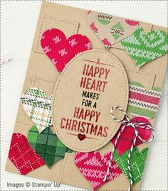 Stampin Up Stitched from the Heart Stitched Shapes Framelits Dies, Warmth & Cheer DSP Stack by Patsy Waggoner Stamps To Die For