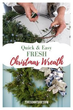 Making your own evergreen Christmas wreath is easier than you think. With just a few basic supplies, you may already have on hand, you can make a live wreath for FREE or very inexpensively. See my time saving tips. In fact a DIY fresh evergreen Holiday wreath can be make in about 30 minutes. It's the perfect Christmas decor for your front door. #Christmaswreath #Evergreenwreath #evergreenwreathdiy