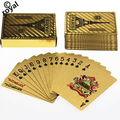 Gold Foil Poker Plated Playing Cards Paris Eiffel Tower 5 sets lot wholesale