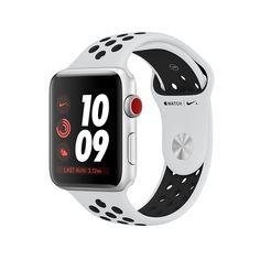Apple Watch Nike+ GPS + Cellular, Silver Aluminum Case with Pure Platinum/Black Nike Sport Band - Apple Apple Watch Series 3, Buy Apple Watch, Smart Watch Apple, Apple Watch Nike, Apple Smartwatch, Nike Watch, Nikes Negros, Nike Noir, Euro