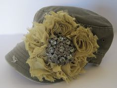 Olive Green Cadet Military Distressed Army Hat  by theraggedyrose, $35.00