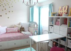 Beautiful before and after of little girls bedroom in Benjamin Moore pink bliss with chandelier, Ikea Hemnes bed, Raskog cart and Kallax bookshelf. Great organizing ideas with fun accent colours. Beautiful nursery palette as well. Little Girl Bedrooms, Teenage Girl Bedrooms, Big Girl Rooms, Lit Hemnes Ikea, Hemnes Bed, Ikea Kallax, Ikea Girls Bedroom, Girls Room Paint, Ikea Childrens Bedroom