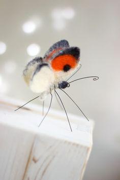 Needle Felted Butterfly Needle Felt Orange by FeltArtByMariana