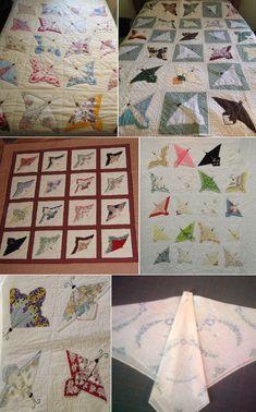 Vintage Handkerchiefs Butterflies Quilt (Tutorial for Folding)