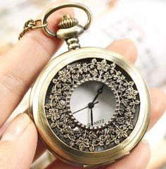 wholesale  price good quality fashion girl quartz new bronze vintage flower figure pocket watch necklace with chain