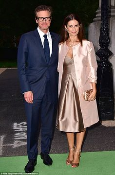 On the green carpet: Colin Firth (left) accompanied wife Livia (right) to the launch of th. Yellow Carpet, Red Carpet Hair, Black Carpet, Beige Carpet, Patterned Carpet, Carpet Colors, Modern Carpet, Sergio Rossi, Car Carpet Cleaner