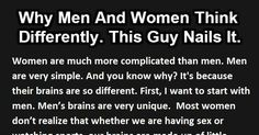 Why Men And Women Think Differently. This Guy Nails It.