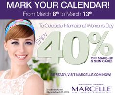 March 8-13, get 40% OFF make-up and skin care when you shop online > www.Marcelle.com #InternationalWomensDay #sale #JourneedelaFemme