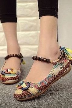 Plus size 42 Casual Flat Shoes Women Flats Handmade Beaded Ankle Straps Loafers Zapatos Mujer Retro Ethnic Embroidered Shoes Beaded Shoes, Beaded Lace, Baskets, Casual Heels, Types Of Shoes, Loafer Shoes, Women's Shoes, Womens Flats, Strap Sandals