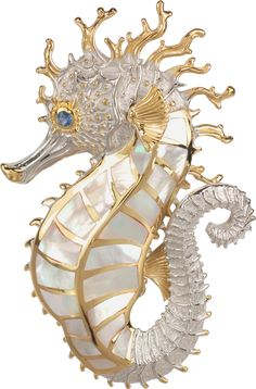 Large Crown Seahorse Pendant This majestic creature of the sea is cast in sterling silver then completely covered in rhodium with yellow gold accents added. Long body is hand cut and set with white mother of pearl with a blue sapphire in the eye. Vintage Brooches, Vintage Jewelry, Tahitian Pearls, Pink Tourmaline, Mother Pearl, Gold Accents, Jewelry Shop, Blue Sapphire, Jewelry Collection