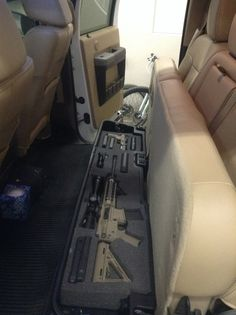 Under seat gun storage…applicable NFA rules apply! Under seat gun storage…applicable NFA rules apply! Hidden Gun Storage, Weapon Storage, Secret Gun Storage, Tactical Truck, Tactical Gear, Tactical Wall, Tactical Survival, Weapons Guns, Guns And Ammo