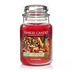Home For The Holidays® : Large Jar Candles : Yankee Candle : The holiday spices of cinnamon and clove, mixed with earthy cedarwood and balsam. Best Candles, Christmas Candles, Christmas Lights, Yankee Candle Scents, Yankee Candles, Scented Candles, Candle Jars, Candle Holders, Christmas Scents