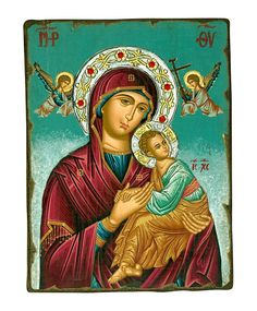 Virgin Mary of Passion, Silver Swarovski Halo Icon - Christianity Art Archangel Gabriel, Crown Of Thorns, Orthodox Icons, The Crown, Christianity, Halo, Original Paintings, Passion, Symbols