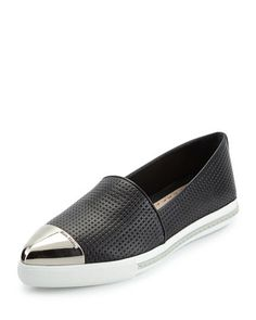 Silver Leather Cap-Toe Loafer with black perforated leather to let your feet breathe. Practical design, comfy looking and cool. #MiuMiu