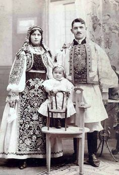 19th Century Banat region Romanians wearing regional rural prestige clothing (trachten)
