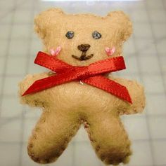 Children's Christmas Teddy Bear Brooch Pin by UrthGypsyVintage, $3.00