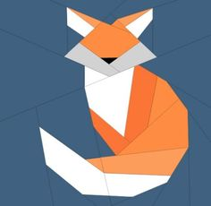 Today we have our July Bitty Block . Its a cute Fox that measures and is on the Easy Intermediate level. You can dow. Circle Quilt Patterns, Paper Pieced Quilt Patterns, Barn Quilt Patterns, Patchwork Quilting, Scrappy Quilts, Patchwork Bags, Quilting Patterns, Bird Quilt Blocks, Block Quilt
