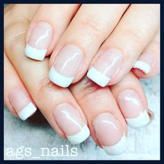 Classic white French gel nails