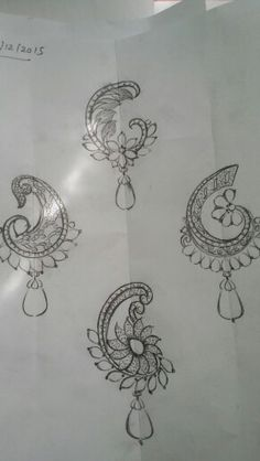 Embroidery Neck Designs, Embroidery Motifs, Beaded Embroidery, Zardozi Embroidery, Jewelry Design Drawing, Fashion Design Drawings, Motif Design, Floral Design, Pattern Design