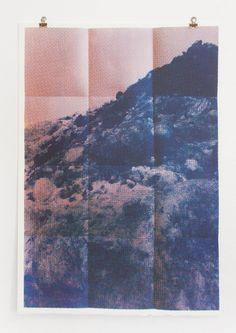 Folded Peaks Blue: Hand-pulled screenprint by the Print Club Boston