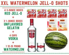 To make the Jell-O shots, you need only four ingredients. | Here's How To Make XXL Watermelon Jell-O Shots