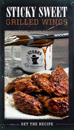 Dripping with the legendary flavor of Stubb's Sticky Sweet Bar-B-Q Sauce and ready in just 30 minutes, these grilled wings are a sweet and easy summer appetizer sure to impress. Chicken Wing Sauces, Chicken Wings, Chicken Meals, Bbq Chicken, 3 Ingredient Chicken Recipes, Yummy Chicken Recipes, Grilling Recipes, Jerky Recipes, Cooking Recipes