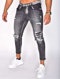 Jeans homme pas cher, jeans Redskins, jean Sixth June - Jeans Industry Black Ripped Jeans, Denim Jeans Men, Boys Jeans, Casual Jeans, Jeans Style, Jeans Homme Fashion, Denim Fashion, Fashion Outfits, Men Street Look